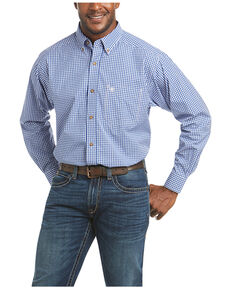 Ariat Men's Bubba Check Plaid Long Sleeve Button-Down Western Shirt - Tall, Blue, hi-res