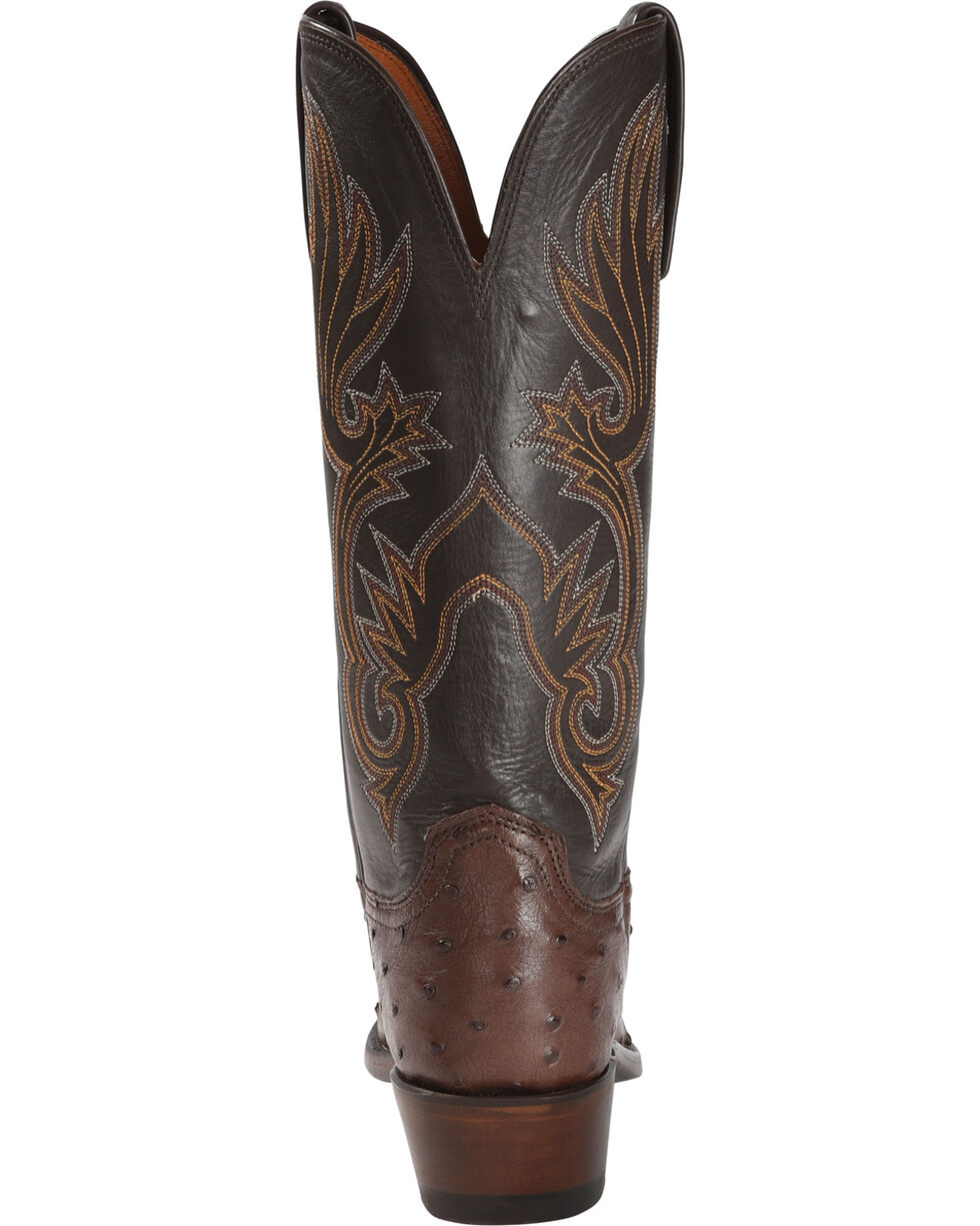 Lucchese Women's Handmade Tan Dolly Full Quill Ostrich Western Boots - Square Toe, Tan, hi-res