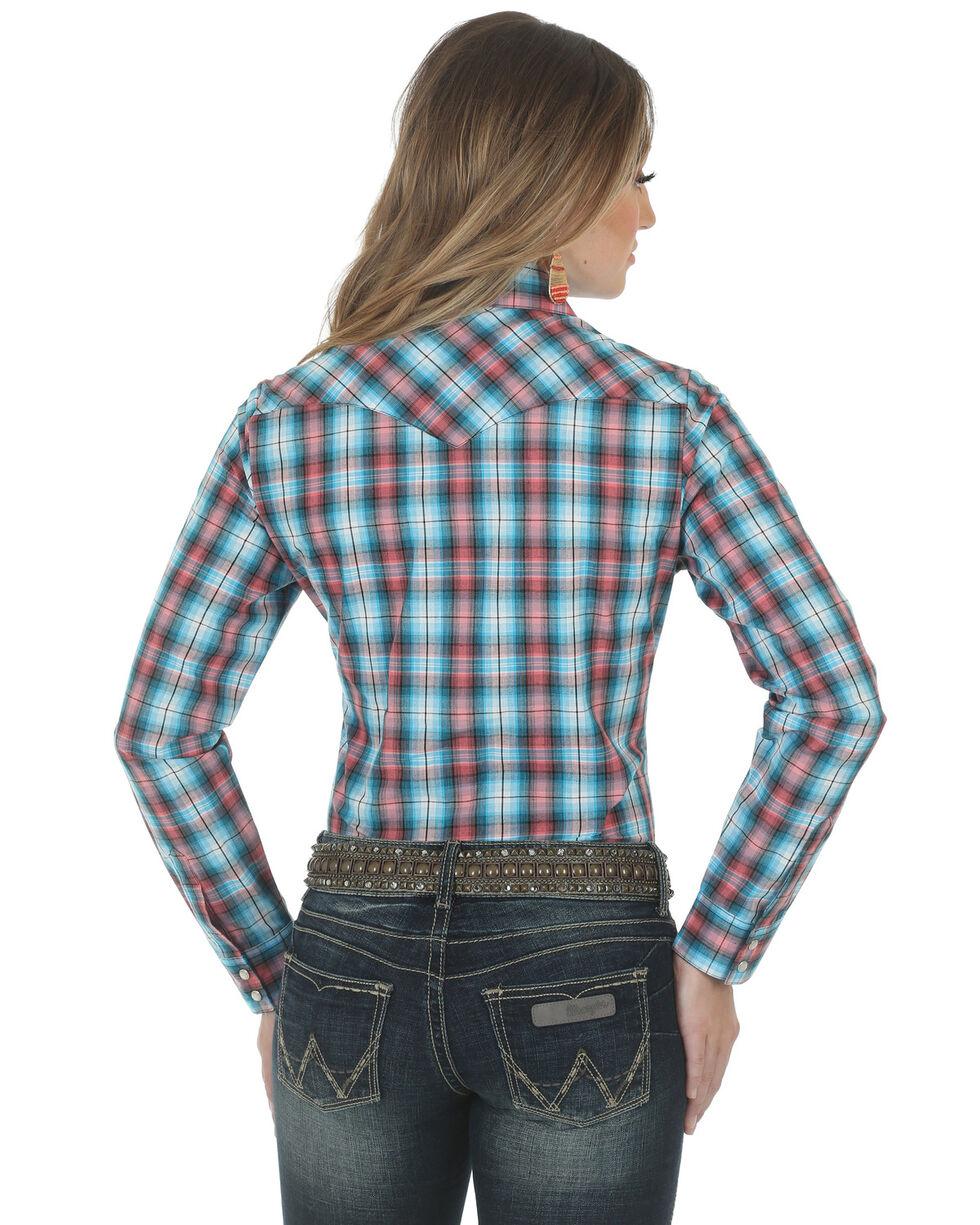 Wrangler Women's Assorted Plaid Snap Long Sleeve Western Shirt , Blue, hi-res