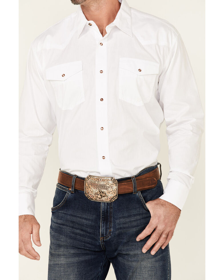 Roper Men's Amarillo Collection Solid Long Sleeve Western Shirt, White, hi-res