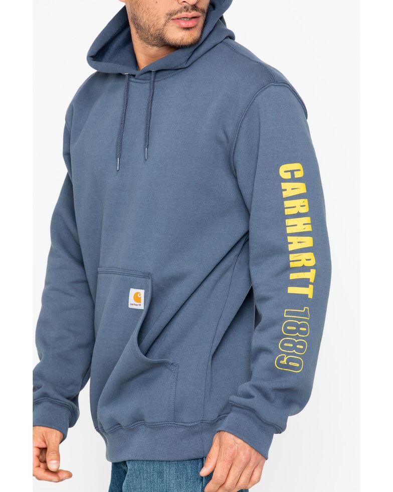 Carhartt Men's 1889 Exclusive Graphic Sleeve Hooded Work Sweatshirt , Blue, hi-res
