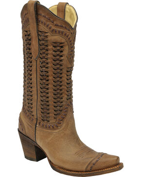 Corral Braided Shaft Cowgirl Boots - Snip Toe, Sand, hi-res