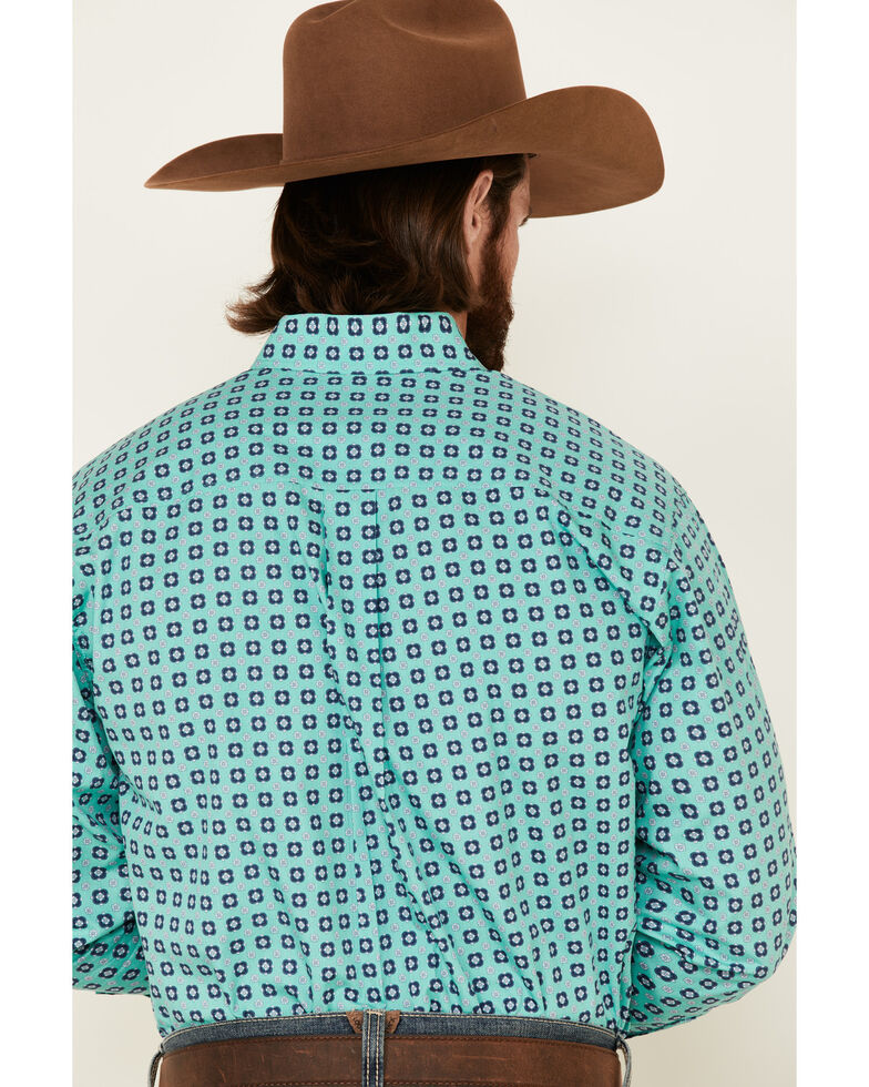 Cinch Men's Turquoise Geo Print Long Sleeve Button-Down Western Shirt - Big , Turquoise, hi-res
