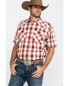 Pendleton Men's Red Frontier Plaid Short Sleeve Western Shirt , Red, hi-res