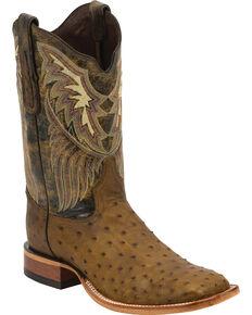 Tony Lama Black Label Full Quill Ostrich Cowboy Boots - Square Toe, Oak, hi-res