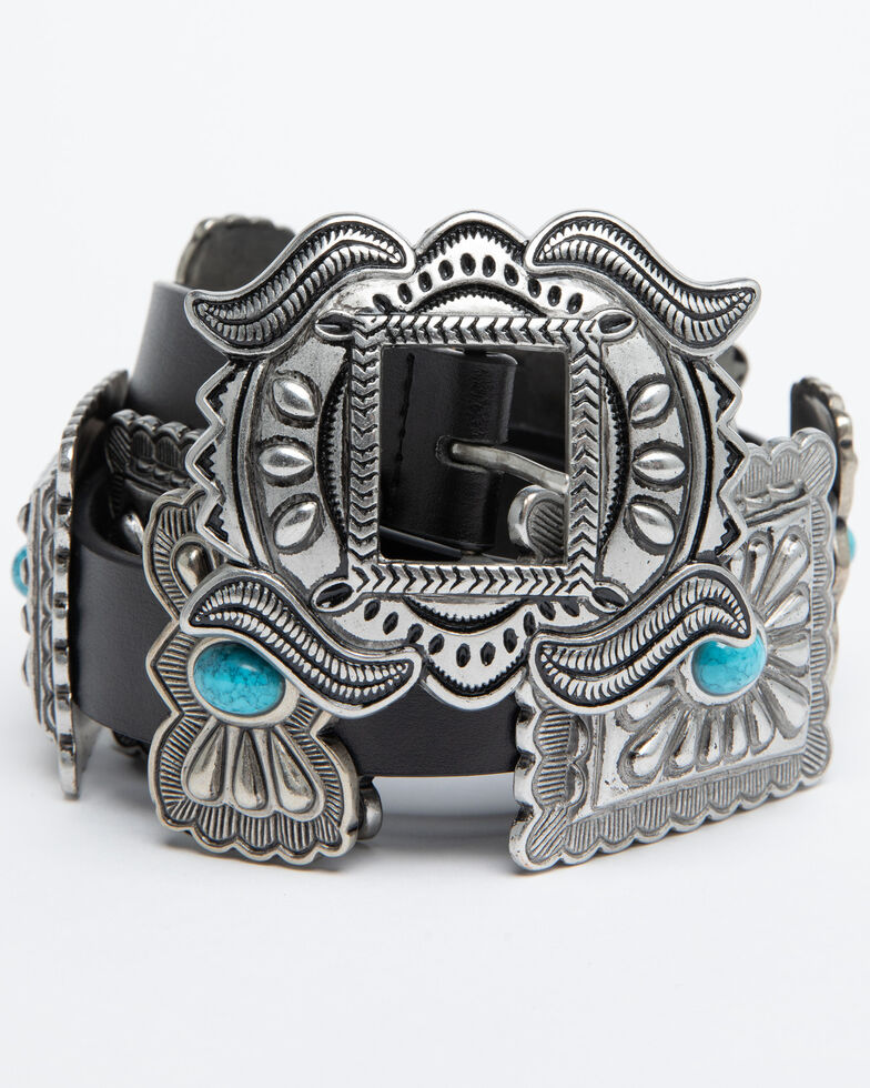 Shyanne Women's Turquoise Concho Belt, , hi-res