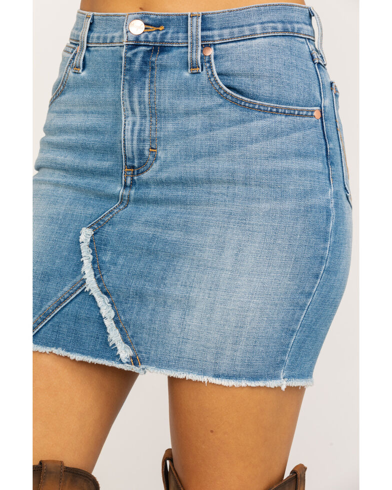 Wrangler Women's Heritage High Rise Mini Skirt, Light Blue, hi-res