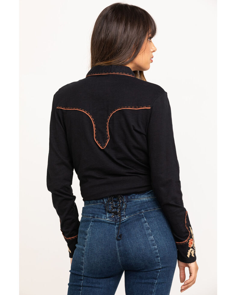 Double D Ranch Women's Ranch Rodeo Long Sleeve Western Shirt, Black, hi-res