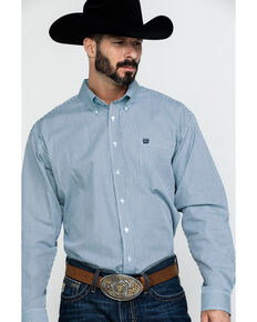 Cinch Men's Tencel Striped Long Sleeve Western Shirt - Big , Light Blue, hi-res