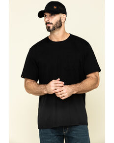 Hawx Men's Black Pocket Crew Short Sleeve Work T-Shirt , Black, hi-res