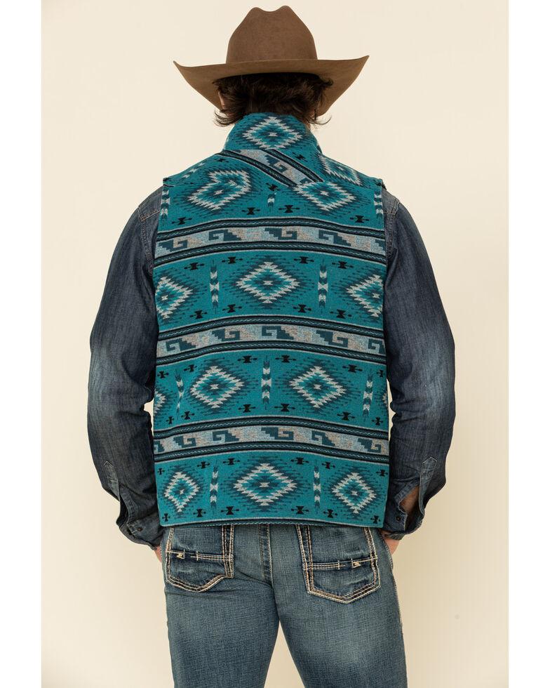 Powder River Outfitters Men's Teal Aztec Print Wool Jacquard Vest , Teal, hi-res
