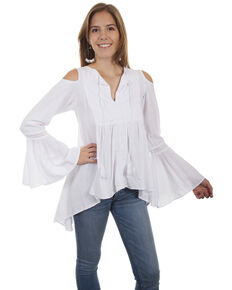 0cad13656b Cantina by Scully Women s Tie Front Cold Shoulder Tunic Top