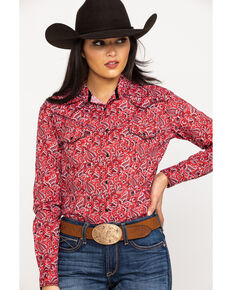Rough Stock Women's Printed Long Sleeve Western Shirt, Red, hi-res