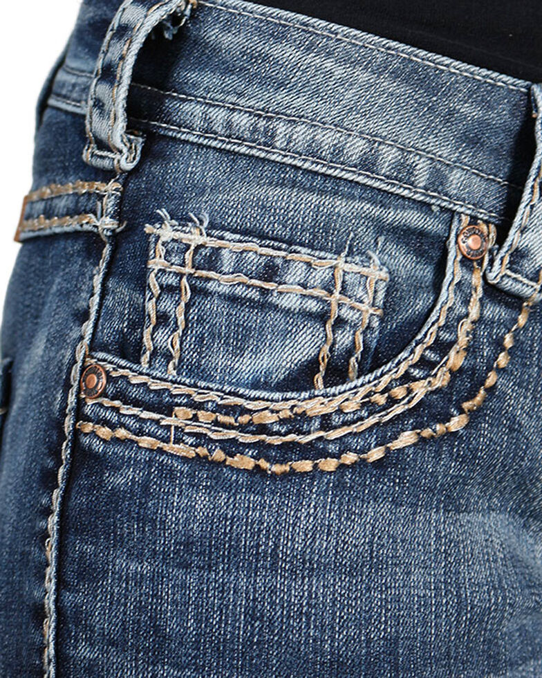 Cowgirl Tuff Women's Timeless Barbed Wire Bootcut Jeans , Blue, hi-res