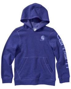 Carhartt Girls' Dark Grape Heather Fleece Logo Sweatshirt , Purple, hi-res