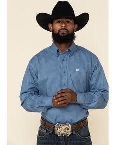 Cinch Men's Blue Stretch Diamond Geo Print Long Sleeve Western Shirt , Blue, hi-res
