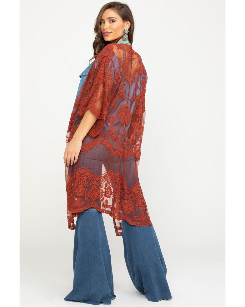 Polagram Women's Lace Long Kimono, Rust Copper, hi-res