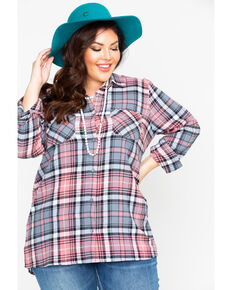 Derek Heart Women's Plaid Button Down Flannel - Plus, Blush, hi-res