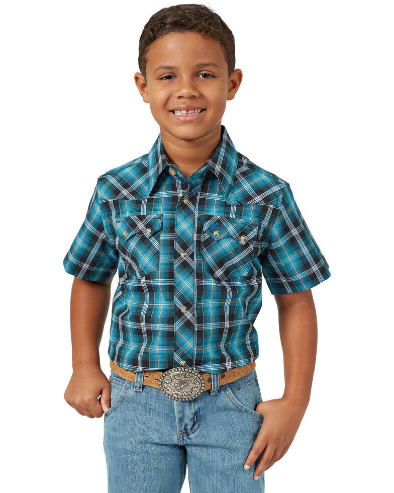 Wrangler Retro Boys' Turquoise Plaid Short Sleeve Western Shirt , Turquoise, hi-res