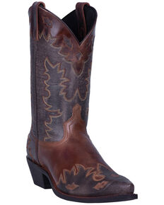 Laredo Men's Wingtip Brown Western Boots - Pointed Toe, Chocolate, hi-res