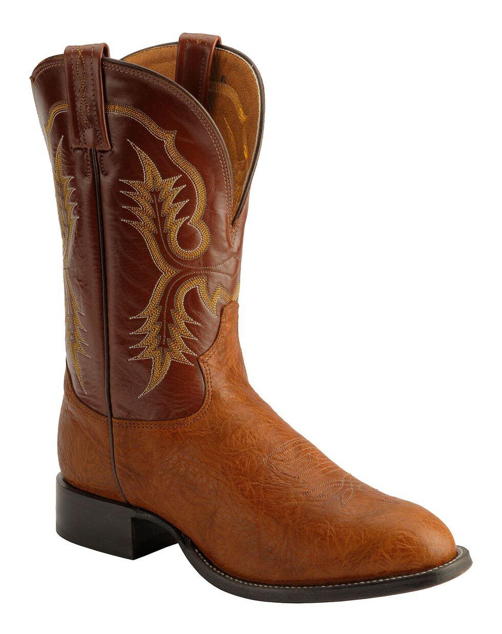 Tony Lama Aztec Shoulder Cowboy Boots - Round Toe, Brit Tan, hi-res