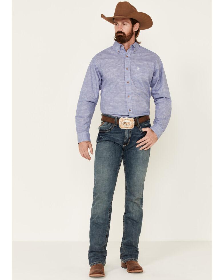 Ariat Men's Solid Blue Slub Button Long Sleeve Western Shirt - Big , Blue, hi-res