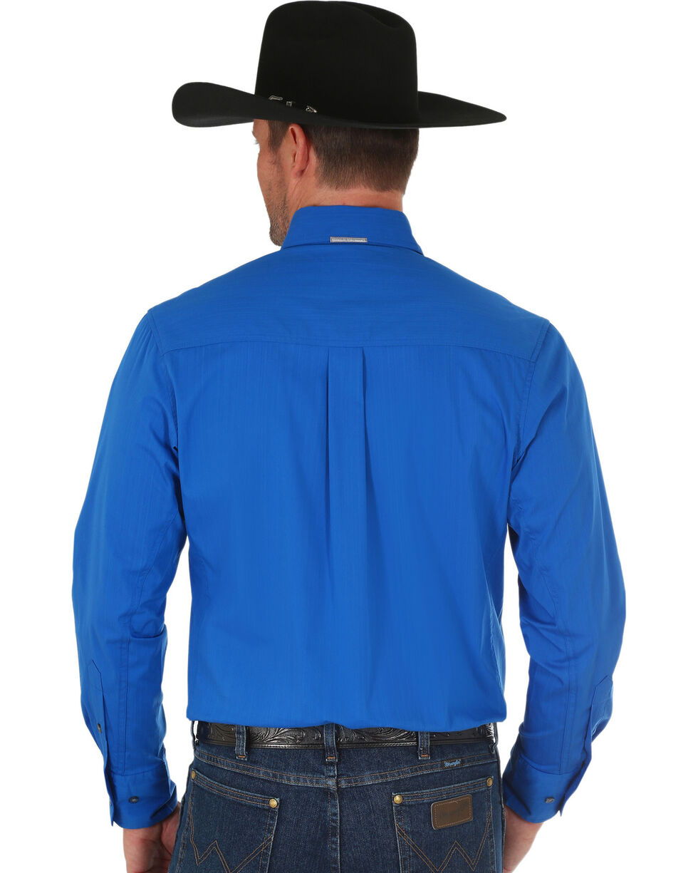 Wrangler Men's Blue Performance Western Shirt , Blue, hi-res