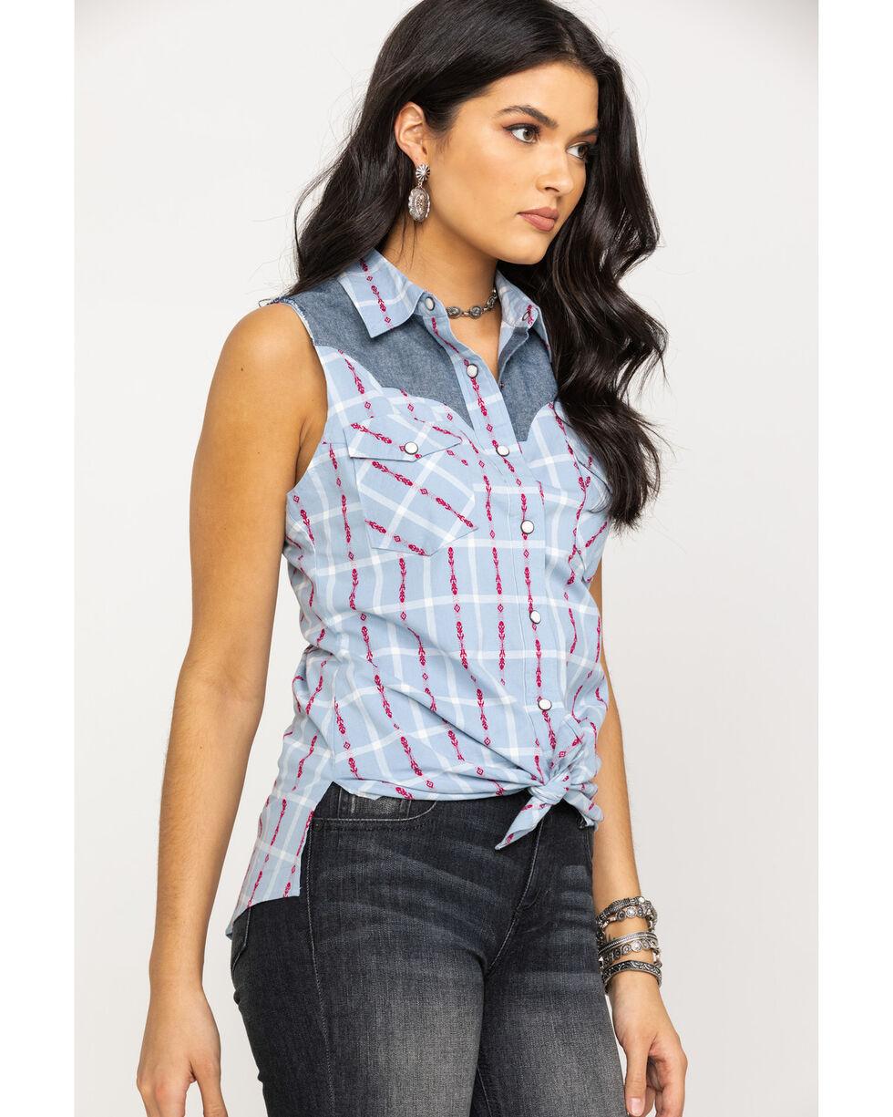 Shyanne Life Women's Blue Dobby Button Sleeveless Western Shirt, Blue, hi-res