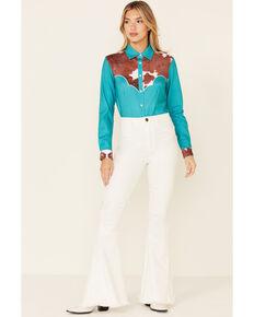 Ranch Dress'n Women's Jade Cowhide Print Long Sleeve Snap Western Shirt , Jade, hi-res