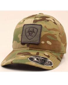Ariat Men's Camo Print Burnt Logo Patch Flex Fit Ball Cap , Camouflage, hi-res