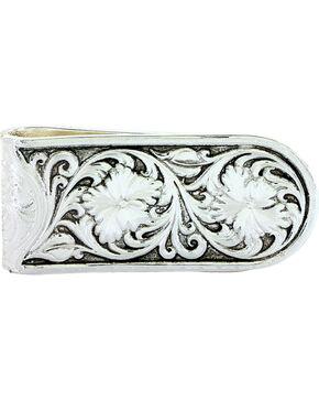 Montana Silversmiths Men's Antiqued Sheridan Rose Money Clip, Silver, hi-res