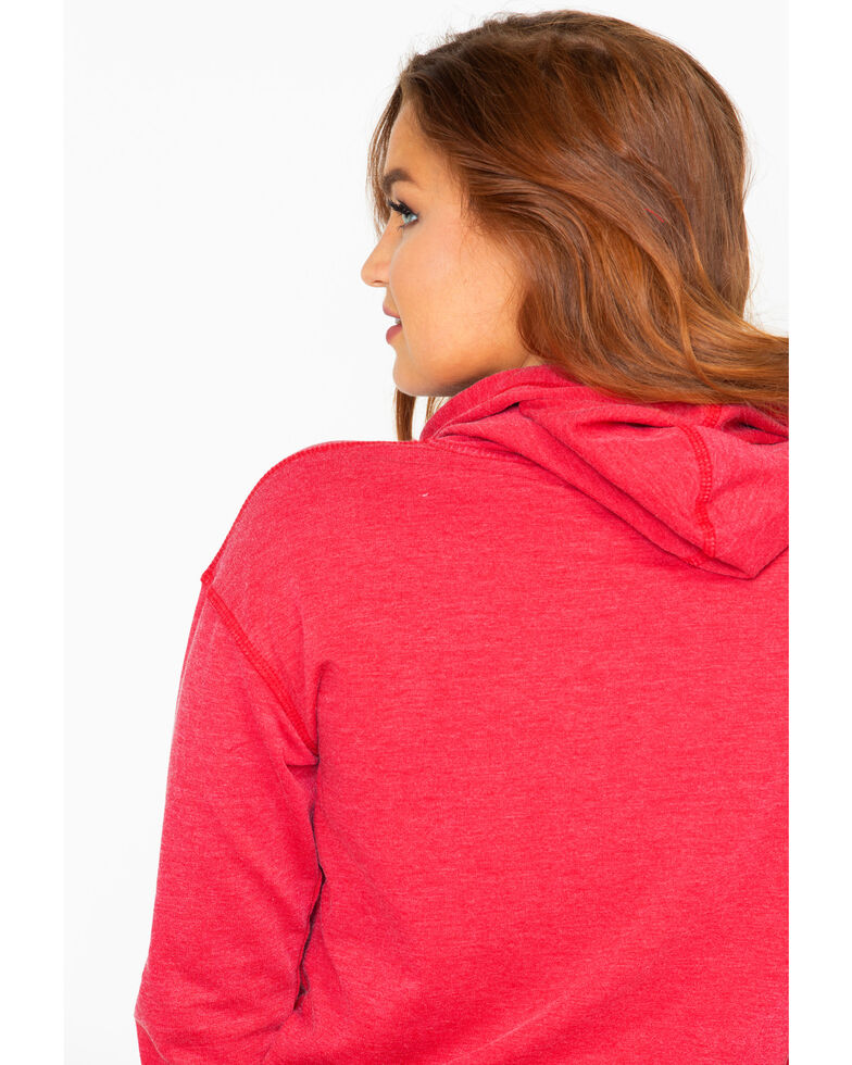 Cowgirl Tuff Women's America Eagle Graphic Burnout Hoodie, Red, hi-res