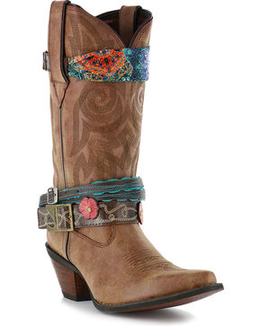 Durango Women's Crush Accessorized Western Fashion Boots - Snip Toe, Brown, hi-res