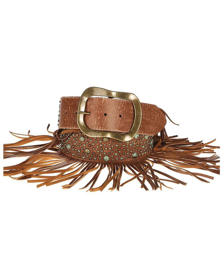Lyntone Women's Cognac Fringe Leather Belt, Cognac, hi-res