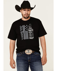 Jack Daniel's Men's Black Bottle Banner Flag Graphic T-Shirt , Black, hi-res