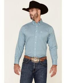 Wrangler 20X Men's Performance Blue Diamond Geo Print Long Sleeve Button-Down Western Shirt , Blue, hi-res