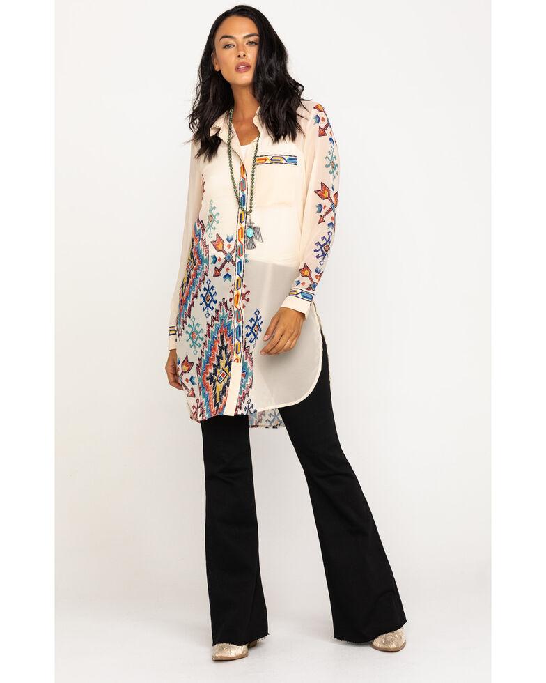 Double D Ranchwear Women's Elk Horn Big Ben Bedroll Tunic, White, hi-res
