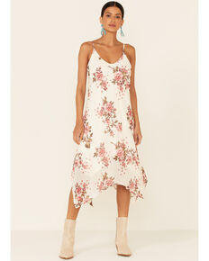 Luna Chix Women's Ivory Floral Chiffon Slip Dress , Ivory, hi-res