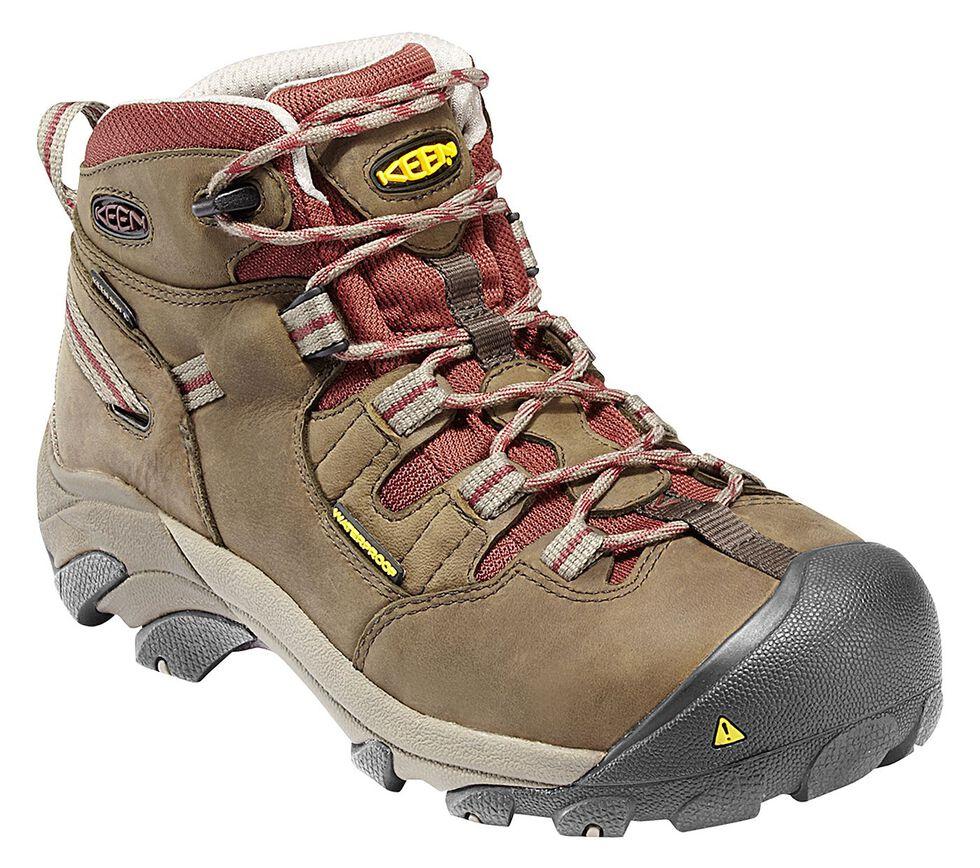 Keen Women's Detroit Mid Waterproof Boots - Steel Toe, Olive, hi-res