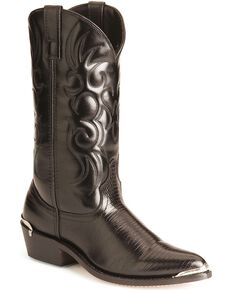 Laredo Lizard Print Cowboy Boots - Pointed Toe, Black, hi-res