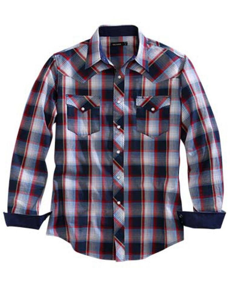Tin Haul Men's Blue Stone Plaid Long Sleeve Western Shirt , Blue, hi-res