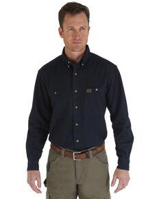 Wrangler Riggs Men's Solid Twill Long Sleeve Work Shirt , Navy, hi-res