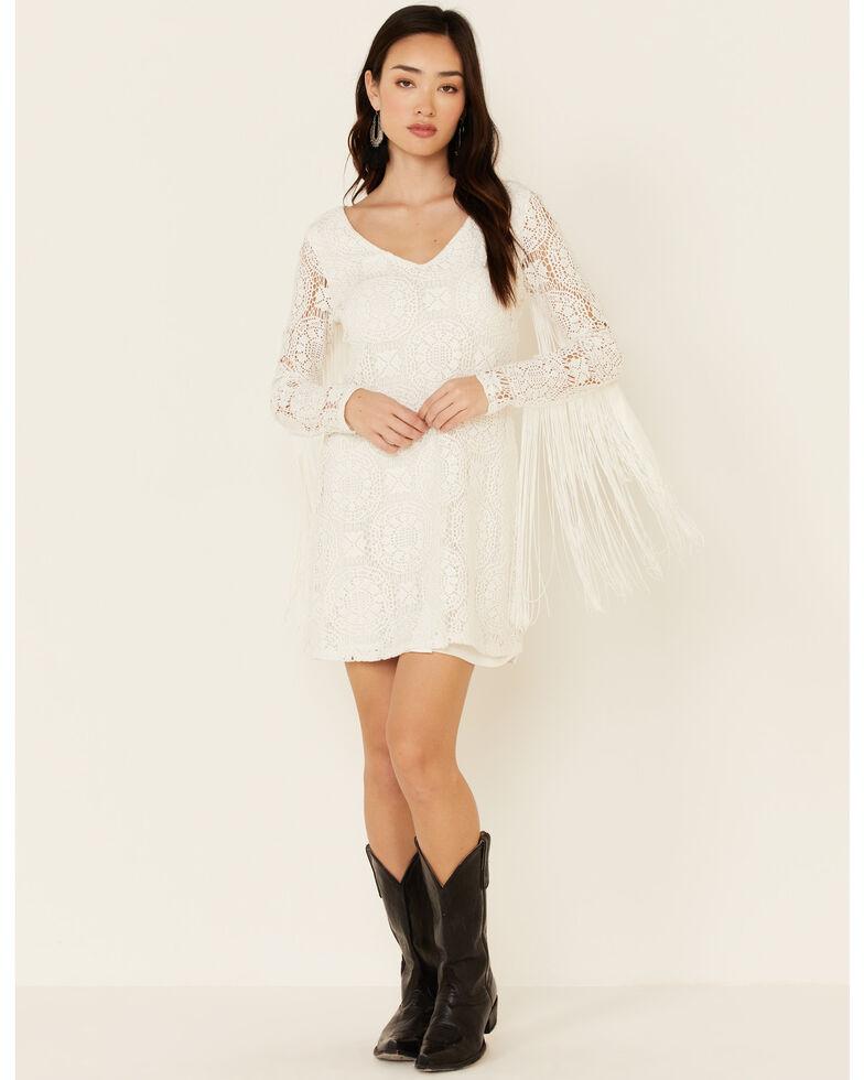 Idyllwind Women's Thunder Road Fringe Crochet Dress, Ivory, hi-res