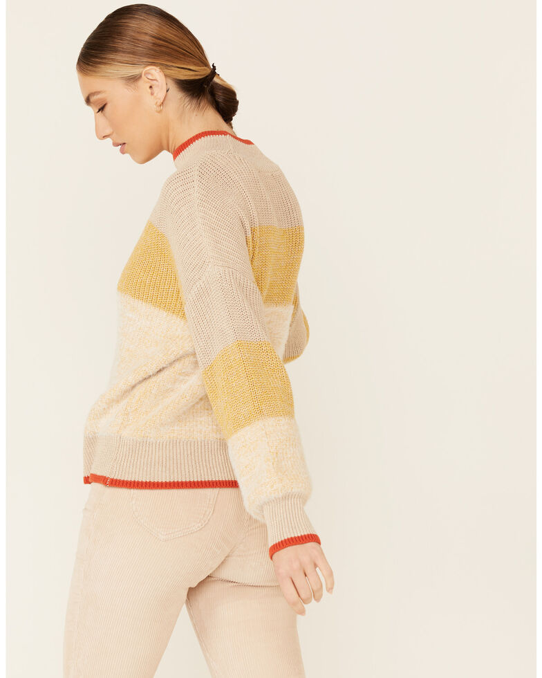 Very J Women's Yellow Striped Mock Neck Sweater , Yellow, hi-res