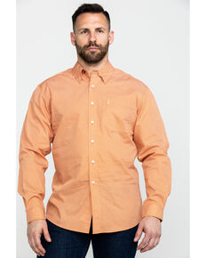 Cinch Men's Orange Geo Print Long Sleeve Western Shirt , Orange, hi-res