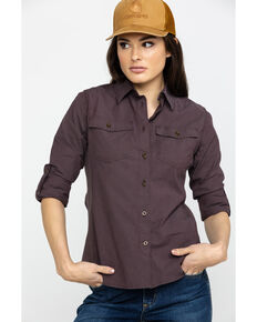 Carhartt Women's Wine Rugged Flex Bozeman Work Shirt, Wine, hi-res