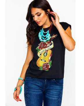 Bohemian Cowgirl Women's Walk The Line Guitar Hi Low Graphic Tee , Black, hi-res