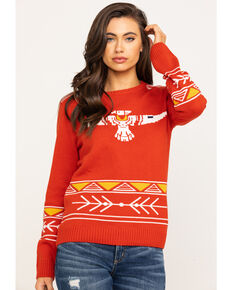 Cotton & Rye Outfitters Women's Rust Thunderbird Sweater, Rust Copper, hi-res