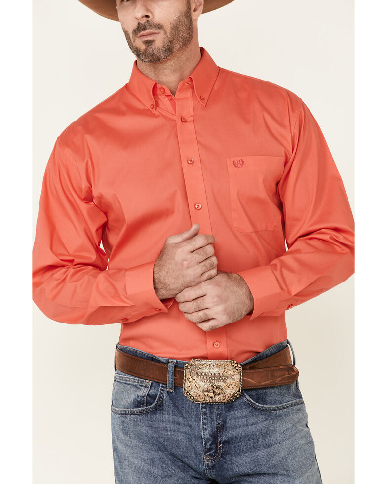 Panhandle Select Men's Solid Stretch Long Sleeve Button-Down Western Shirt , Red, hi-res