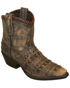Abilene Women's Rawhide Sanded Western Booties - Snip Toe, Tan, hi-res